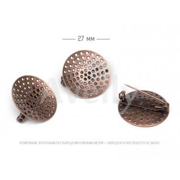 Круглая основа-ситечко со скрытой булавкой, античная медь