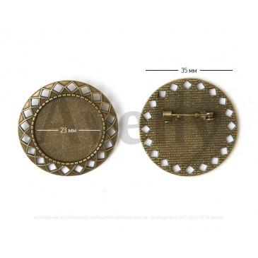 Круглая основа для броши античное золото