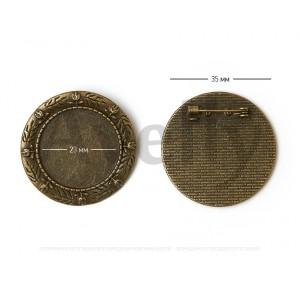 Круглая основа для броши античная бронза