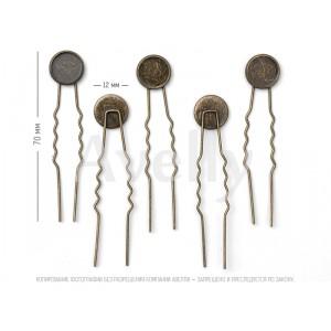 декоративная шпилька для волос с основой для крепления, античная бронза
